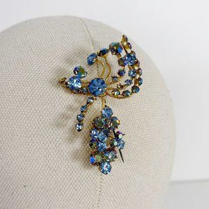 Vintage Abstract Gold-Tone Blue Rhinestone Brooch